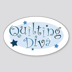 """""""Quilting Diva"""" [blue] Oval Sticker"""